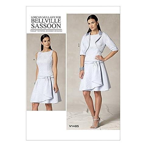 Vogue Damen Schnittmuster 1485Bolero Jacke & Drop Taille Kleid + GRATIS Minerva Crafts Craft Guide