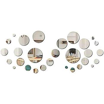 Fretod Miroirs Muraux Rond 30pcs 3d Miroir Autocollant Stickers