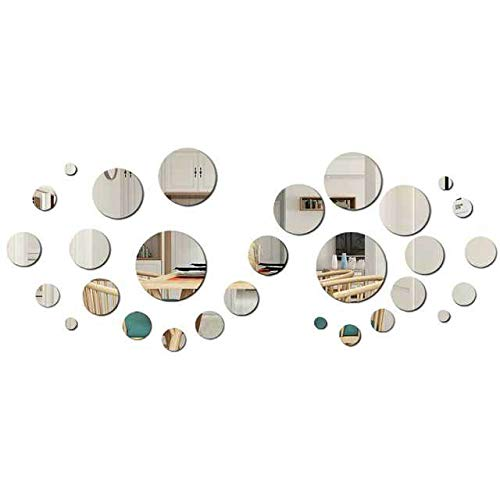 FRETOD Fogli adesivi da parete specchio (30 pezzi), decalcomania autoadesiva fai da te, carta da parati murale, soggiorno decor, camera da letto, piastrelle