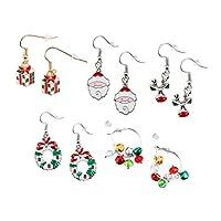 Toyvian 5 Pairs Christmas Earrings Cartoon Cute Dangle Drop Earrings Christmas Gifts for Teens Girls Women Holiday Jewelry Set