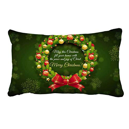 Best Christmas Wishes Holiday Wreath Pillow Cover Case for Couch Sofa Home...