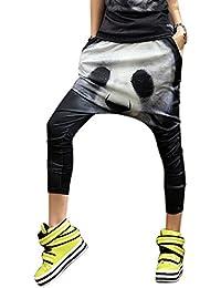 ELLAZHU Femme Pantalon Lâche Sarouel Imprimé Joli Panda Taille Unique GK78
