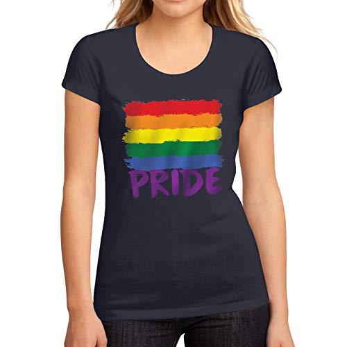 Ultrabasic Damen Grafik Tee ShirtLGBT Pride Französisch Marine