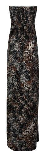 Fast Fashion donna fiori stampa Boobtube Sheering maxi-vestito Rose Grau