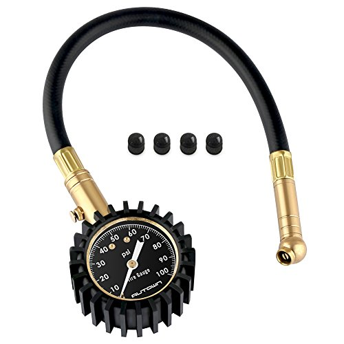 Mechanischer Reifendruckmesser, Tragbarer Reifendruckprüfer Manometer 0-100 PSI mit Zifferblatt, 360° drehbares Kugelgelenk für Auto, Motorrad, LKW, SUV, Inkl.4 Ventilkappen