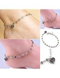Tradico® Women's Retro Heart Flowers Barefoot Sandal Beach Anklet Chain Foot Jewelry Us