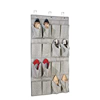 mDesign Hanging Storage Pocket Organiser - Practical Hanging Pocket Storage - Perfect Hanging Organiser for Shoes - Hanging Storage with 16 Fabric Pockets