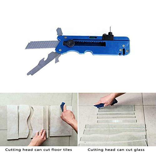 Rabatt-fliesen (Glasschneider - Glas Cutter Werkzeug 10-IN-1 Multifunktionales Werkzeug Bearbeitung von Buntglas, Fliesen, Glaskunst, Spiegel, oder Butzenscheiben - Für Lineal- und Formschnitte (Blue))