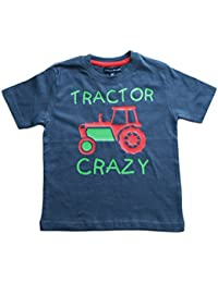TRACTOR CRAZY' Boys Washed Navy T-shirt with Green and Red print