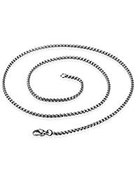 82a75d56f0b2 KRMZB Collar de Acero Inoxidable de los Hombres Collar de Perlas de Acero  Titanium Cuadrado Collar