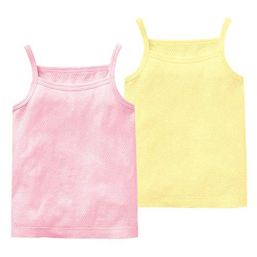 JiAmy Baby Jungen Mädchen Unterhemd, 2er Pack Unterwäsche Baumwolle Hemd ohne Arm Mesh Schlafanzug Rosa+Gelb 3-6 Monate