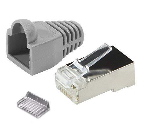 odedo® 20er Pack RJ45 Crimpstecker grau CAT 5e / 6 Metall geschirmt mit Einfädelhilfe und Knickschutz, Crimp Stecker Netzwerkstecker Lankabel RJ45 -