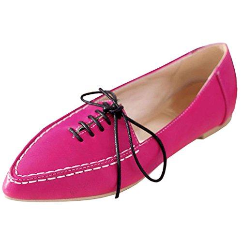 COOLCEPT Damen Mode-Event Girls Fashion Flach Schule Geschlossene Ballerinas Pumps Rot