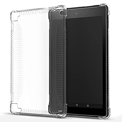 MoKo Hülle für Fire HD 2016 8 Zoll - Ultra Slim Flexible TPU Kristall Klar Rückseite Schutzhülle Crystal Clear Case Durchsichtig Cover für Fire HD Tablet (Vorherige 6. Generation - 2016), Transparent - Amazon Semi