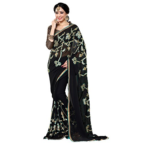 Women'S Black Color Georgette Embroidery, Hand Work Woven Saree