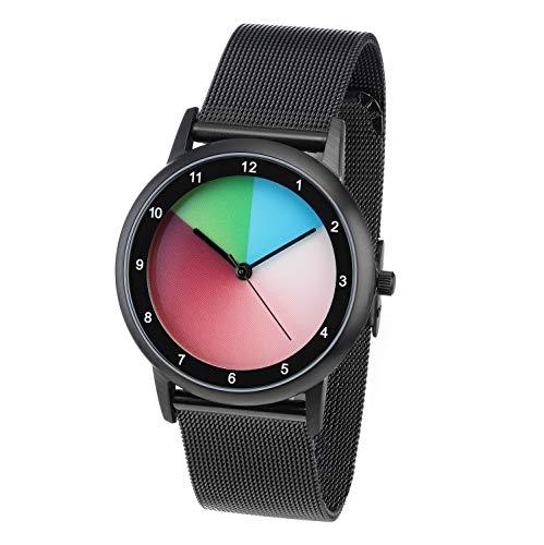 Rainbow e-motion of color Avantgardia Classic Unisex Uhr Analog Quarz mit Edelstahl...