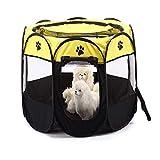 FZKJJXJL Pet Play Pen Portable Pieghevole Puppy Dog Pet Cat Coniglio Guinea Pig Box in Tessuto Gabbia Gabbia Tenda Canile,Yellow-M