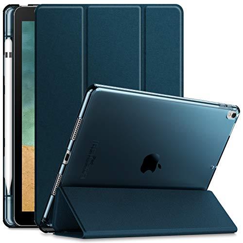 Infiland iPad Air (3. Generation) 10,5 Zoll 2019 / iPad Pro 10,5 Hülle mit eingebautem Apple Pencil Halter, Ultradünne Superleicht Schutzhülle mit Transparenter Rückseite Abdeckung, Dunkleblau