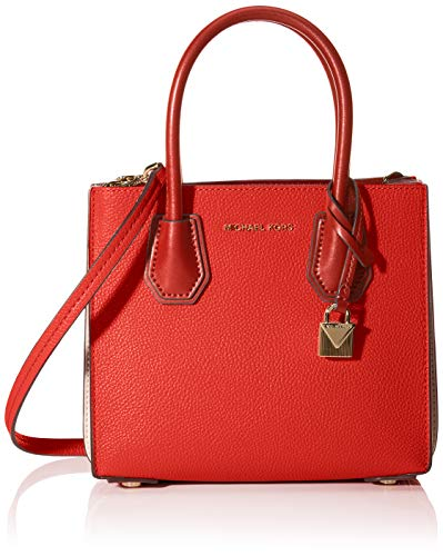 Michael Kors Damen Mercer Pebbled Leather Accordion Crossbody Umhängetasche, Rot (Lt Trcta Mlt), 10.2x19x21.6 cm
