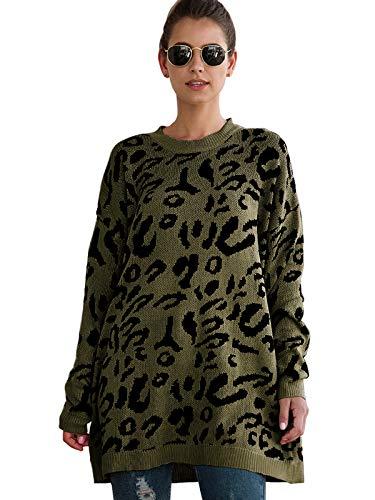 Durio - Jersey de Punto para Mujer, Talla Grande, Manga Larga, Informal, suéter Suelto para Invierno y otoño Verde 44