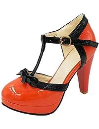 c8732162f47c56 UH Damen Cosplay Lolita T Spange Bockabsatz High Heels Lack Plateau Pumps  mit Riemchen und Schleife Schnalle Geschlossen…