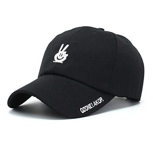Wollmütze Hüte weibliche Stickerei Sieg Hand Mark Baseballmütze Vier Jahreszeiten Kappe Leinwand Hut Männer und Frauen Kappe schwarz a