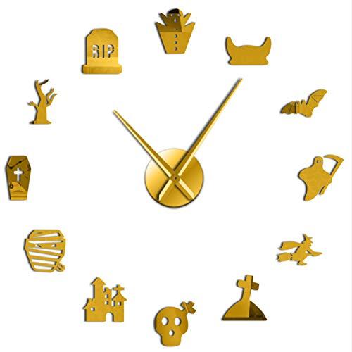 st DIY Übergroße Wanduhr Stille Friedhof Schädel Fledermaus Hexe Umriss Cosplay Party Home Decor Rahmenlose Stechuhr (Gold) 47inch ()