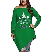 LILICAT☃ Moda Mujer Feliz Navidad Navidad Sin Tirantes Letra Estampado Irregular Camiseta de Gran tamaño Top Casual Talla asimétrica Cuello asimétrico