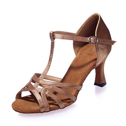 L@YC Donne scarpe da ballo Belly / Latin Dance Sneakers / Moderno / Satin Fine Vita con multicolore personalizzato Brown