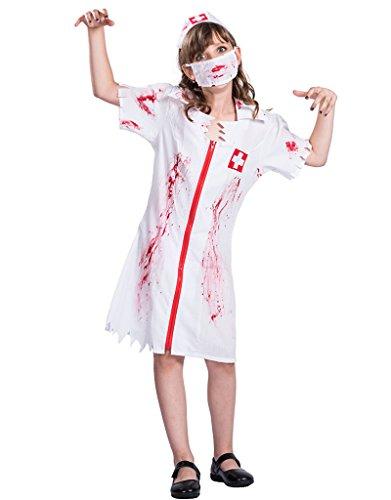 EraSpooky Mädchen Halloween Zombie Krankenschwester (Halloween Mädchen Kostüme Weiße)