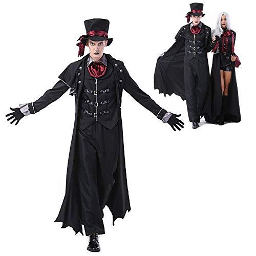 HUILI Paare Halloween-Kostüme Erwachsene Vampir Kostüm Böse Zombie Cosplay Partei verkleiden Outfits Maskerade (Vampir Kostüm Für Paare)