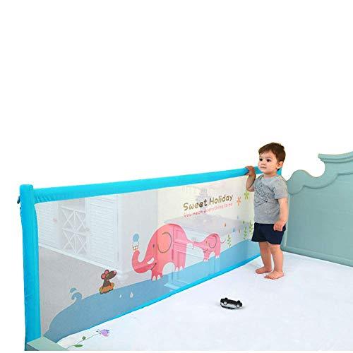 XUE Baby Bettgitter blau extra lang Bettgitter Sicherheit Bettgitter vertikal Lift für Kinder Kleinkind bis Queen & King Size Bett, 1,5-2M,180cm - Bettgitter Queen-bett