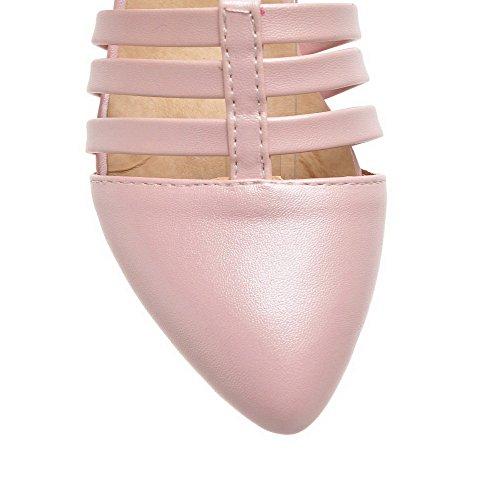 AgooLar Femme Pointu Boucle Pu Cuir Couleur Unie à Talon Correct Chaussures Légeres Rose