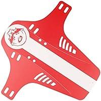 LridSu 2 Piezas Plegable Frontal Tenedor Trasero Simple Intermitente Guardabarros de Bicicleta de montaña (Rojo)