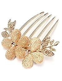 Newin Star 1 Patrón de moda Lady niña de las flores con Encanto PCS clip del peine del pelo decoraciones de la aleación del Rhinestone pasador de pelo de oro para Salud