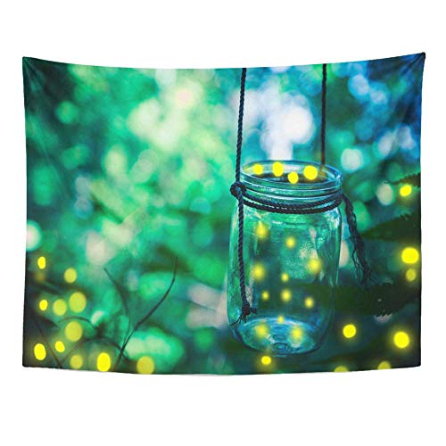 e, Art Decor Wall, Green Bokeh Firefly in Jar Bugs Captured Catch Covering Dusk Environment 60
