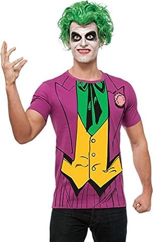 Joker Shirt und Perücke 'Batman' Karneval Fasching Kostüm für Herren Gr. M - XL, Größe:L
