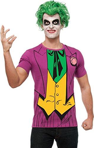 Joker Shirt und Perücke 'Batman' Karneval Fasching Kostüm für Herren Gr. M - XL, Größe:XL