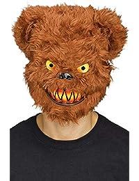 Fancy Me Hommes Halloween Marron Evil Tueur Ours en Peluche Déguisement Halloween Masque