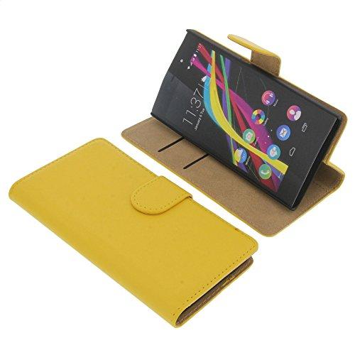 foto-kontor Tasche für Wiko Highway Star Book Style Gelb Kreditkarte Schutz Hülle Buch
