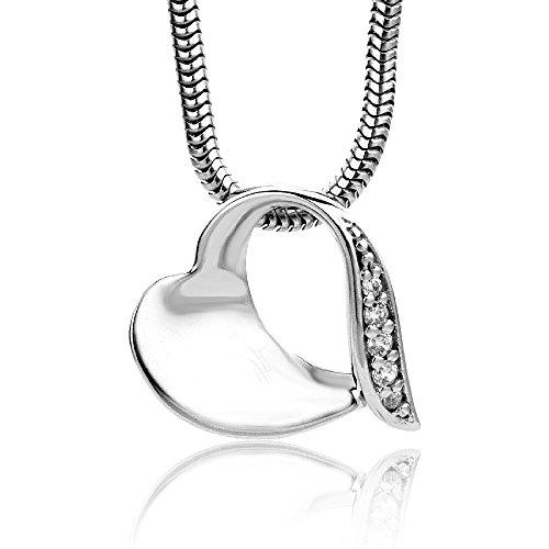 Miore Damen-Halskette mit Herz-Anhänger - Wunderschöne Kette aus 925 Sterling Silber mit Zirkonia Steinen - Halsschmuck 45 cm lang, Silber