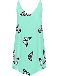 WearAll Women's Chiffon Butterfly Print Lined Sleeveless Dip Hem Vest Top 14-28