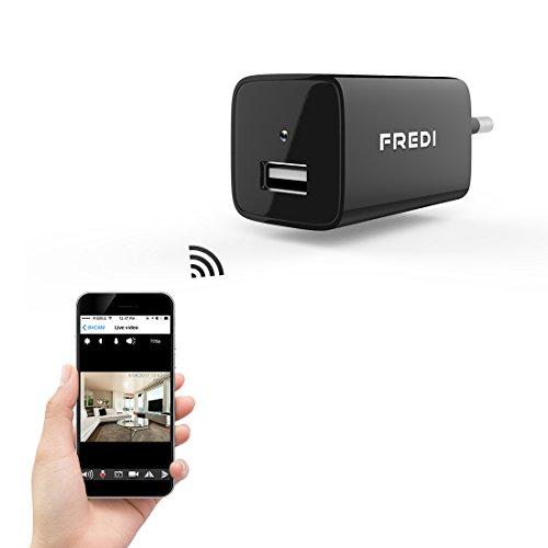 Galleria fotografica FREDI 1080P WIFI telecamera HD 128G adattatore caricatore con videocamera nascosta spia caricatore della parete telecamera di sorveglianza con ingresso USB / ingress per la memoria interna fino a 128G