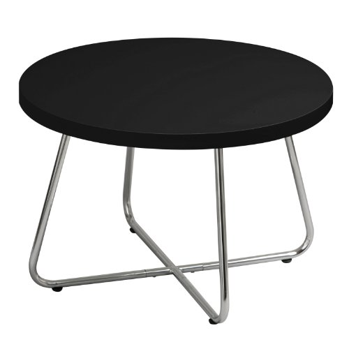 Premier Housewares Round Coffee Table with Black High Gloss Top and Angular Chrome Legs, 40 x 60 x 60 cm
