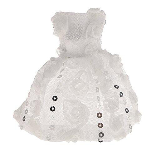 Generic Paillettes Sequin Abito di Festa Nozze Sposa Per Bambole Barbie - Bianco