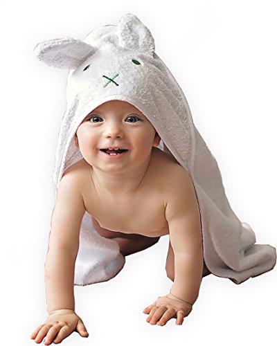 BabyCrate Kapuzenbadetuch Hase mit Ohren 100{f1f819d04ee12f98f49bb056f0ad6a321c74ddc532f088e7d1392d07601851bc} Bio-Baumwolle weich und dick - Premium-Qualität - ideal als Geschenk für Neugeborene, Säuglinge und Kleinkinder