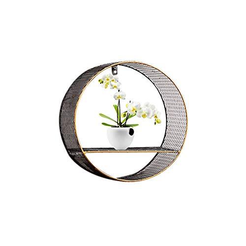 PROKTH Industrie-Wandregal, rund, Metall, Wandmontage, Wandregal, dekoratives Regal für Kleine Topfpflanzen a