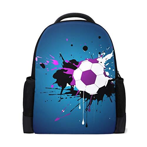 Bonipe Rucksack mit Fußball-Malerei, für Büro, Schule, Laptoptasche, Reisetasche