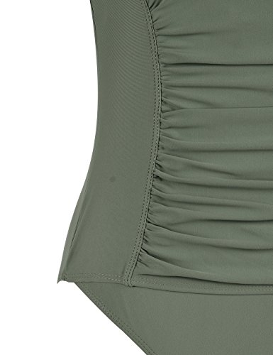 Firpearl Damen schwarz Einteiler Badeanzug Rüschen Bauch Steuern Schwimmanzug Grün