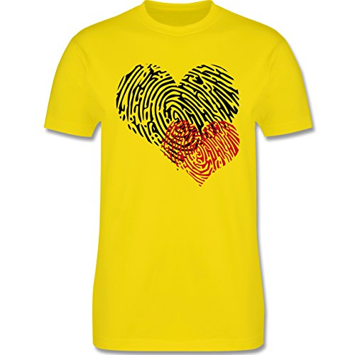 Romantisch - Herz Fingerabdruck Doppelherz - Herren Premium T-Shirt Lemon Gelb